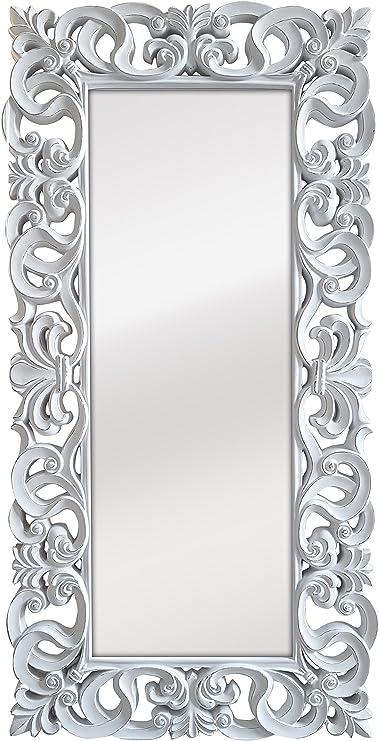 Espejo Fabricado en España y Decorado a Mano- Medida Exterior 88x178 cm, Medida de Espejo 48x138 cm. Espejo Decorativo de Pared Modelo Goya Color Blanco decapé: Amazon.es: Hogar