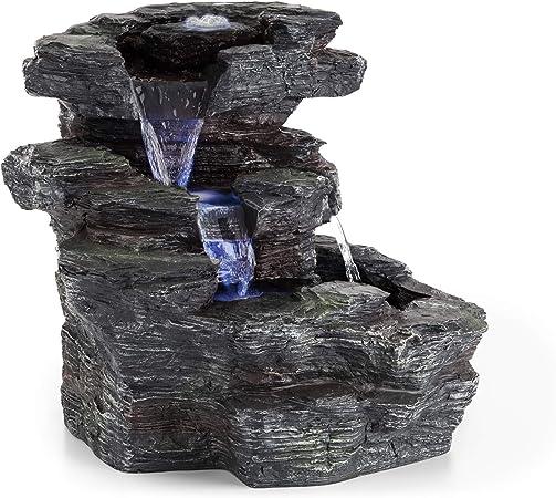 Blumfeldt Rochester Falls /• Gartenbrunnen /• Springbrunnen /• Standbrunnen /• IPX8 /• 6 Watt /• frostbest/ändiges Polyresin /• Beleuchtung /• 3 LEDs /• Steinoptik /• inkl Abdeckung /• 64 x 43 x 37 cm /•