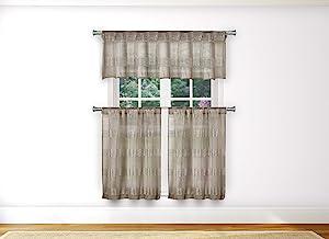Home Maison - Loretta Semi Sheer Faux Linen Striped Kitchen Tier & Valance Set | Small Window Curtain for Cafe, Bath, Laundry, Bedroom - (Mocha)