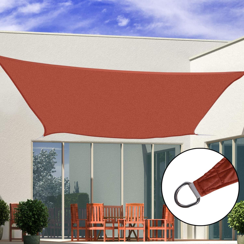 Outsunny Toldo Vela Rectángulo 4x6m Vela de Sombra para Terraza Jardín Camping Resistente al Agua Protección UV Poliéster Color Oxido Rojo
