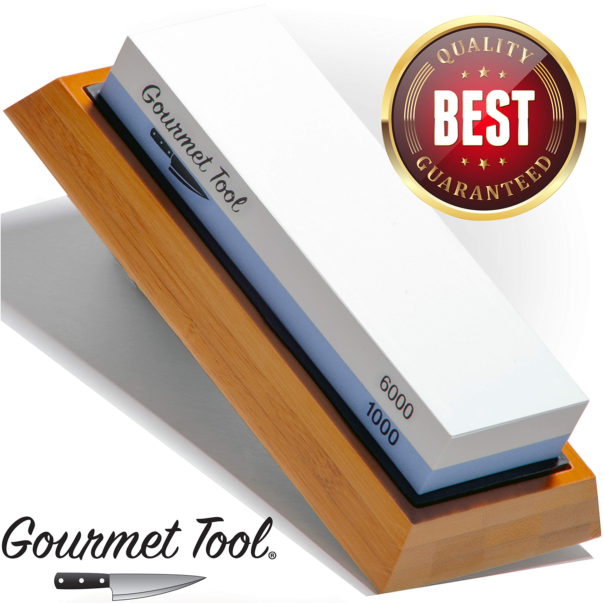 Whetstone Knife Sharpener by Gourmet Tool - Knife Sharpening Stone - Waterstone 1000-6000 Grit with Non-Slip Bamboo Base Flattening Stone and Angle Guide - Best Wet Stone Kitchen Knives Sharpening Kit by Gourmet Tool