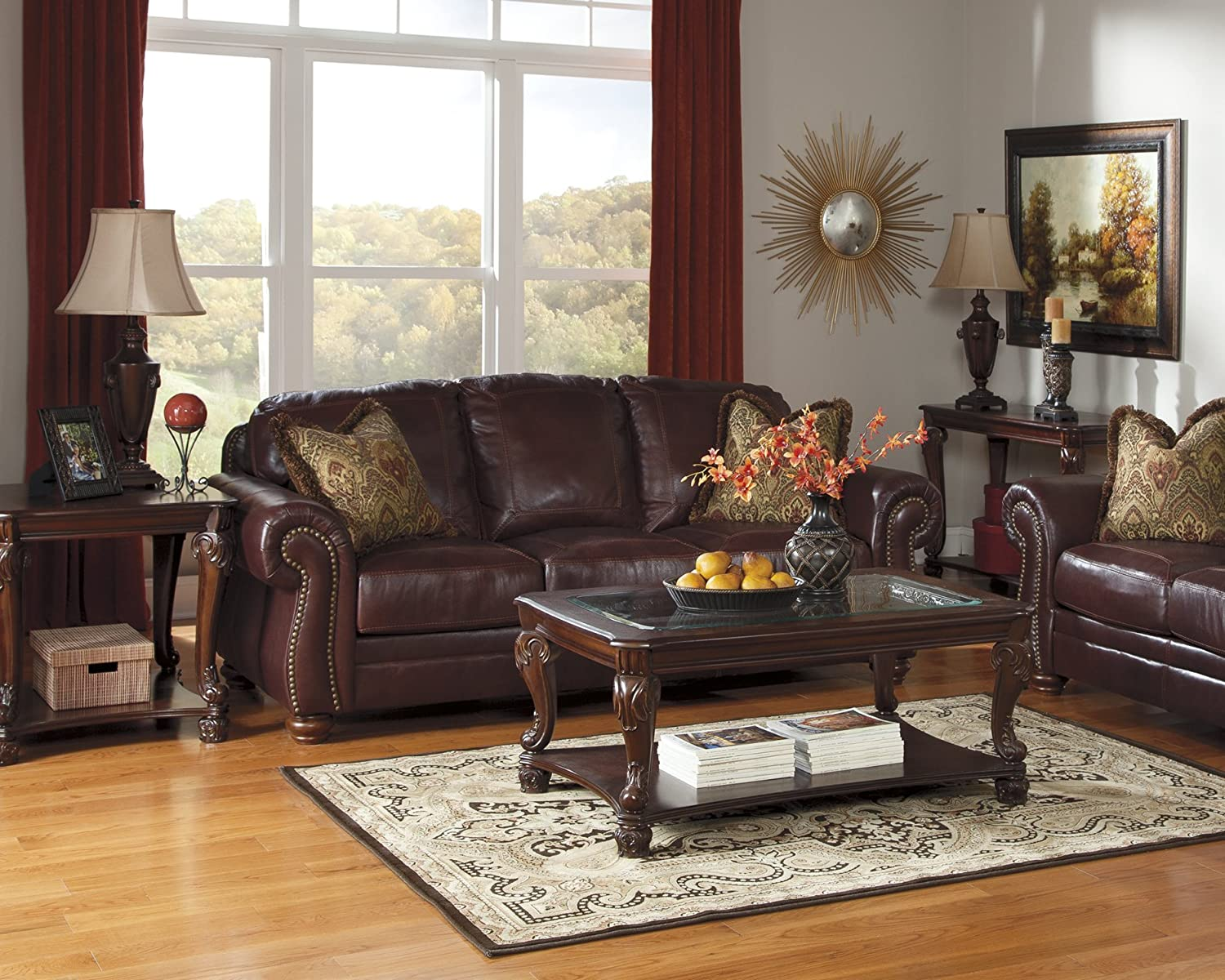 Signature Design by Ashley Furniture-Norcastle End Table-Traditional Style-Dark Brown