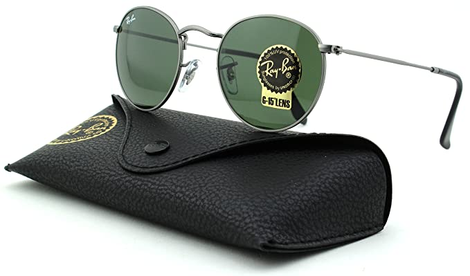 1a76656510 Amazon.com  Ray-Ban RB3447 Round Metal Unisex Sunglasses (Matte Gunmetal  Frame Crystal Green Lens 029