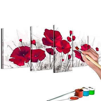 Murando Malen Nach Zahlen Blumen Mohn 150x60cm 5 Tlg Malset Diy Na 0622 Dm
