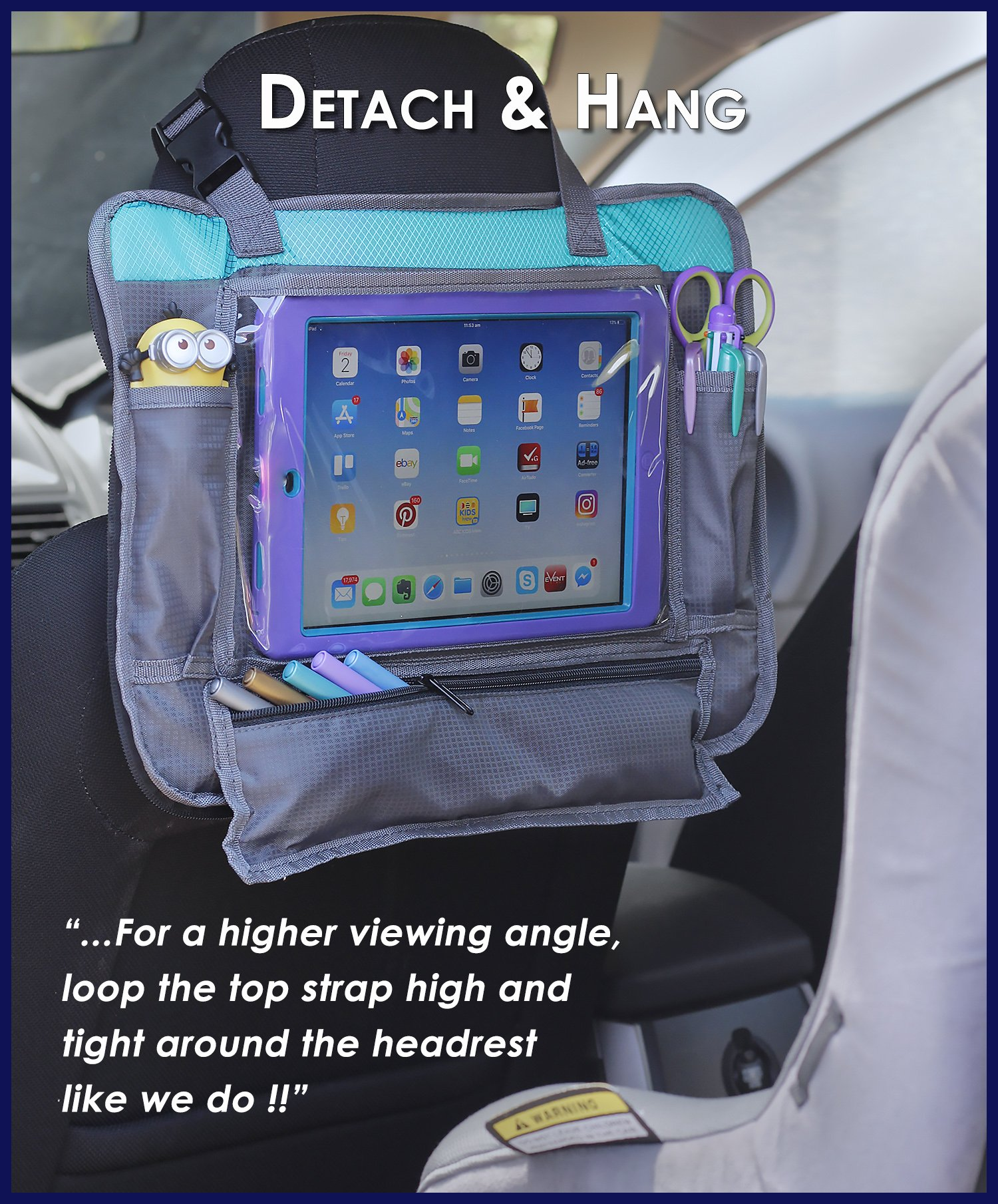 ORGANIZED EMPIRE's Detachable 4 in 1 Car Seat Travel Tray, Storage Organizer, Carry Bag & Tablet Holder for kids all in one. Most stable back seat Snack Tray on the market, no balancing required by Organized Empire (Image #3)