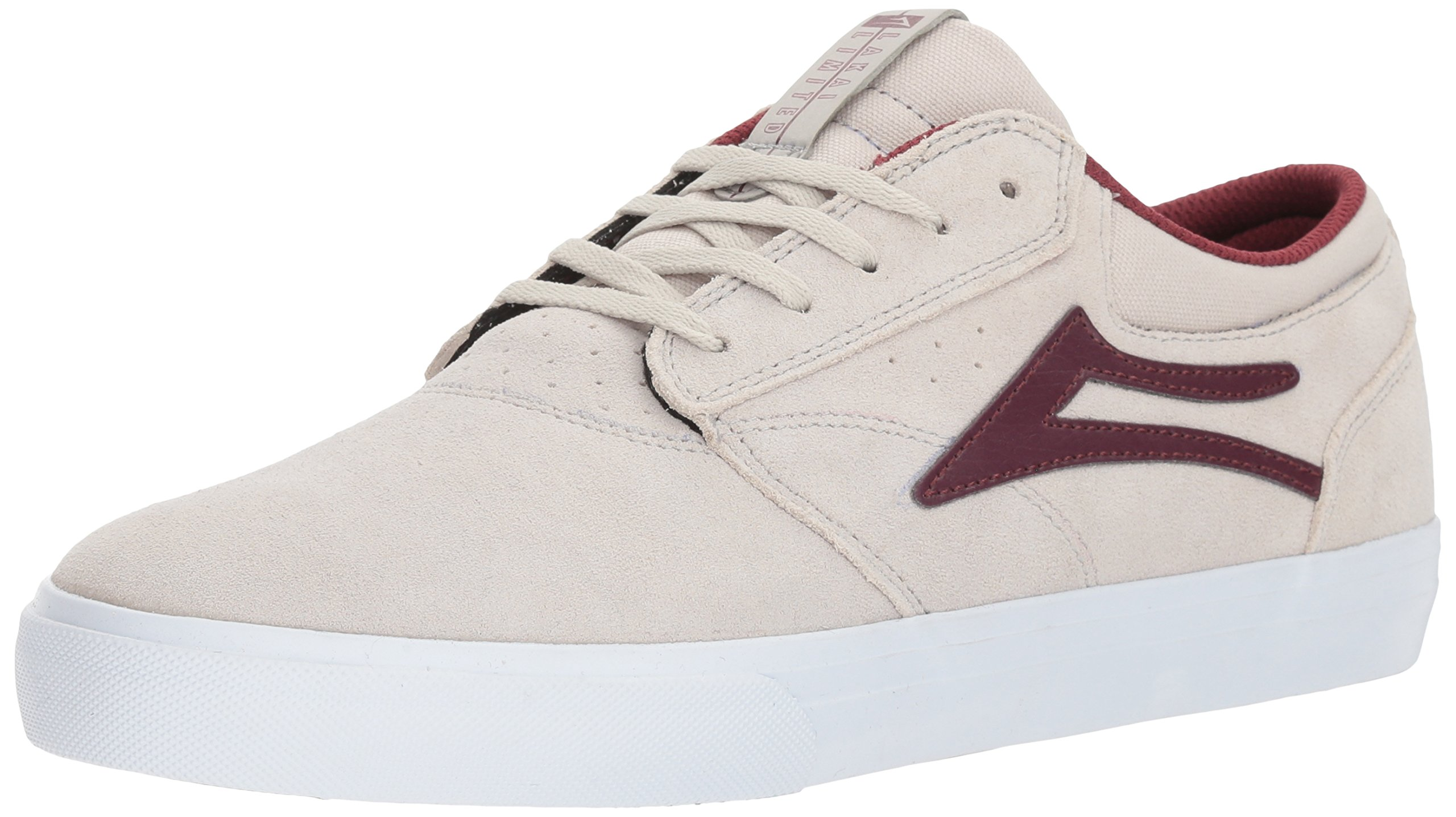 Lakai Griffin, White/Burgundy Suede, 10.5 Medium US