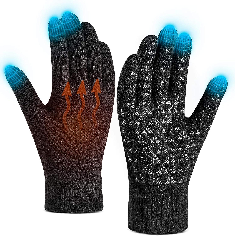 Men Women Winter Knit Gloves Touchscreen Thermal Windproof Mittens Gloves Hot