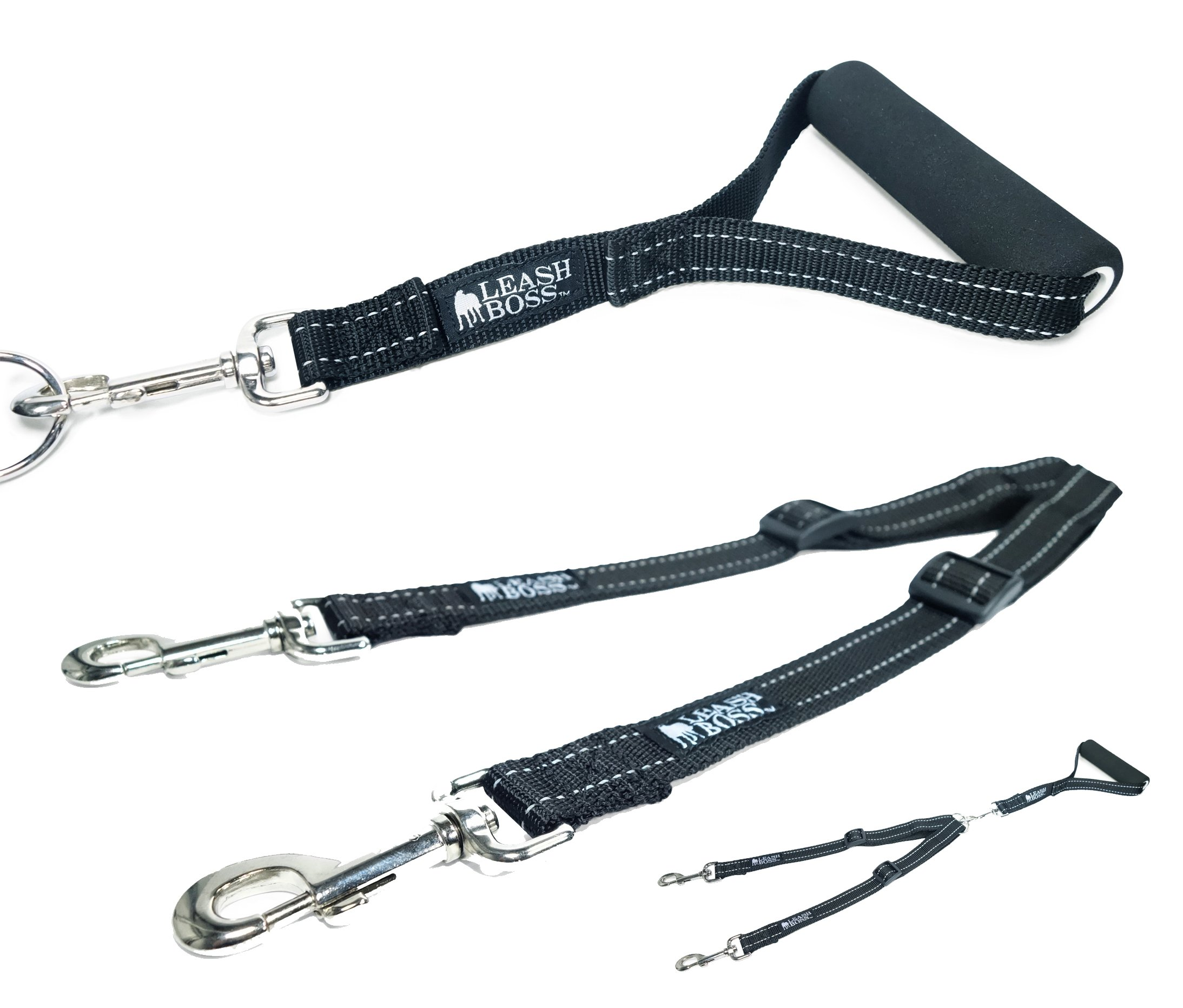 Leashboss Duo - Double Dog Leash with Handle - Adjustable Reflective Coupler For Two Large Dogs - No Tangle Leash Splitter