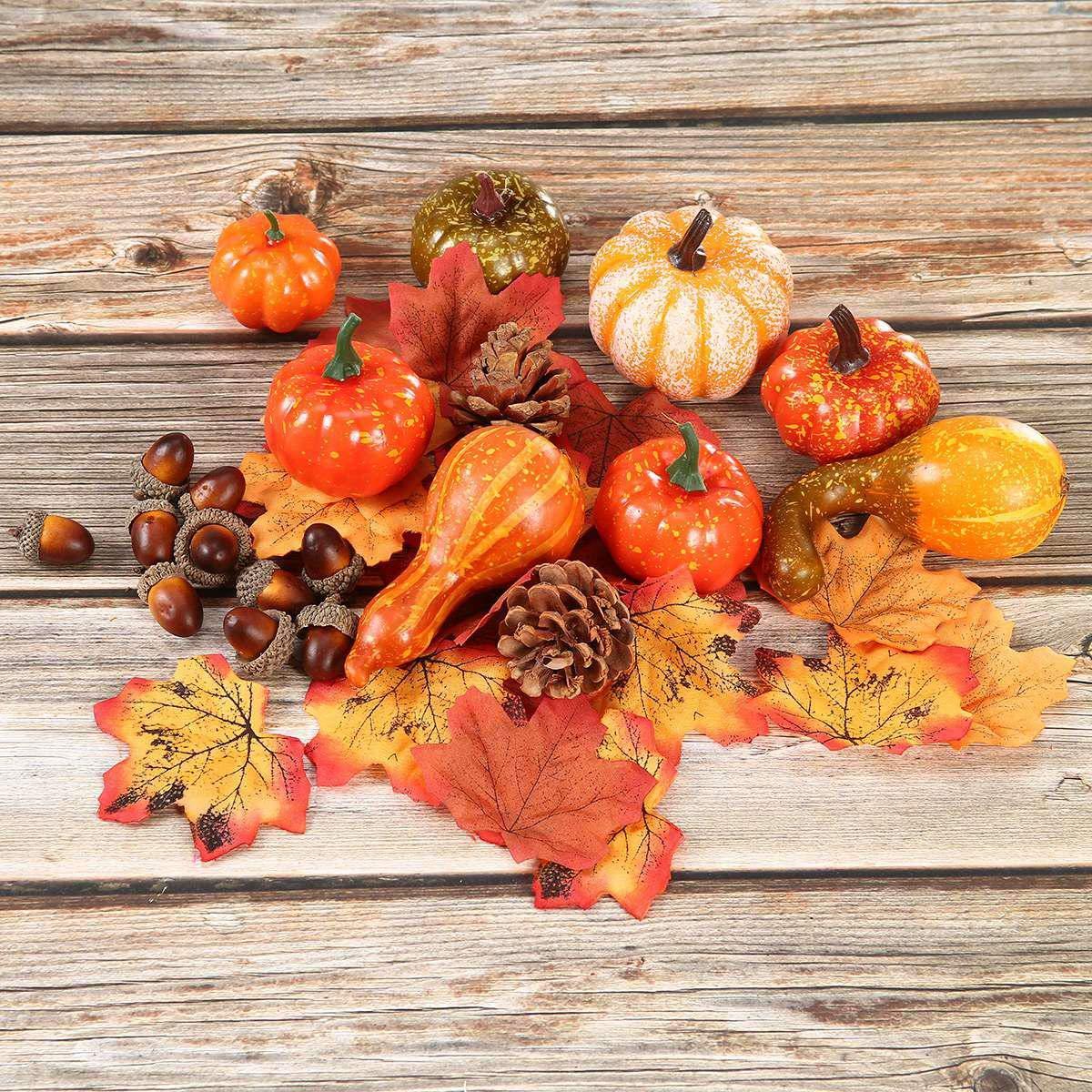 juego de frutas vegetales decorativas reutilizables Decoraci/ón de calabaza artificial Volwco realista para Halloween la decoraci/ón del hogar y festival hojas de arce falsas adornos