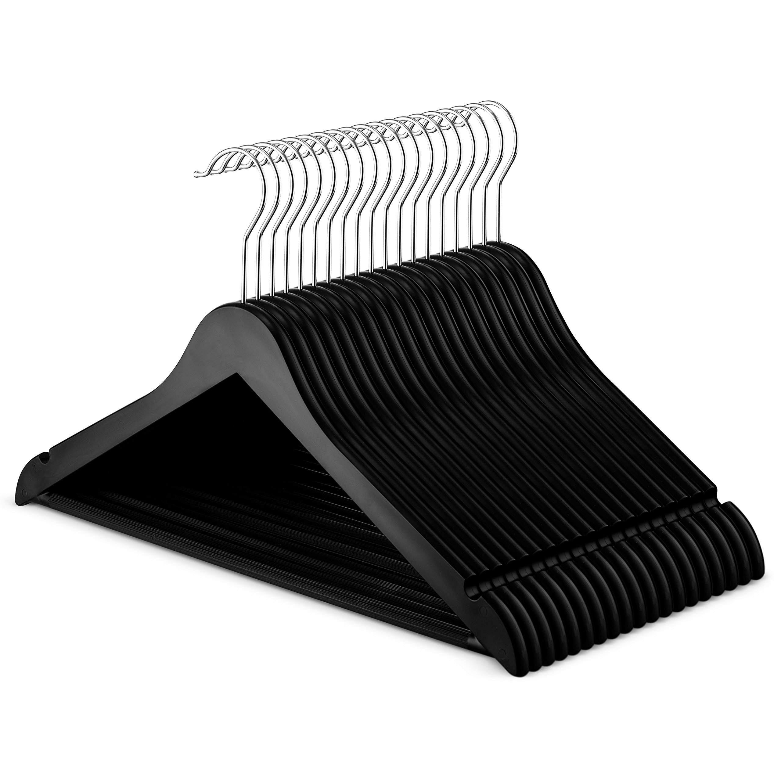 ZOBER Premium Quality Plastic Suit Hangers – (20-Pack) Black - with Slim Space Saving, 360 Degree Swivel Hook, Non-Slip Bar, Smooth Notches for Dress Clothes, Coats, Jacket, Pants,