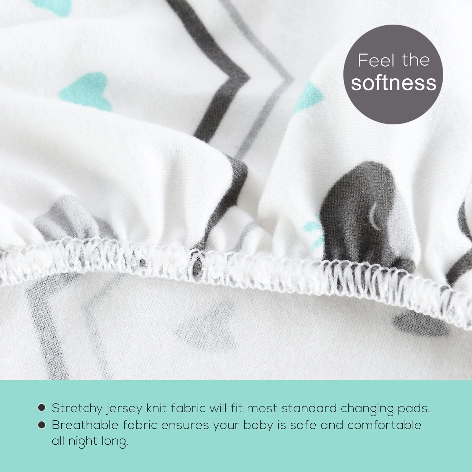 for Boys Girls,Unisex,Ultra Soft Breathable,Owl /& Bear Stretchy-Bassinet-Sheet-Set-BROLEX 2 Pack Snug Fitted Craddle Fitted Sheets for Bassinet Pads//Mattress