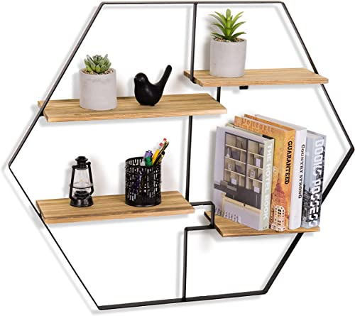 MyGift Wall-Mounted 4-Tier Burnt Wood Floating Shelves with Geometric Design Metal Frame