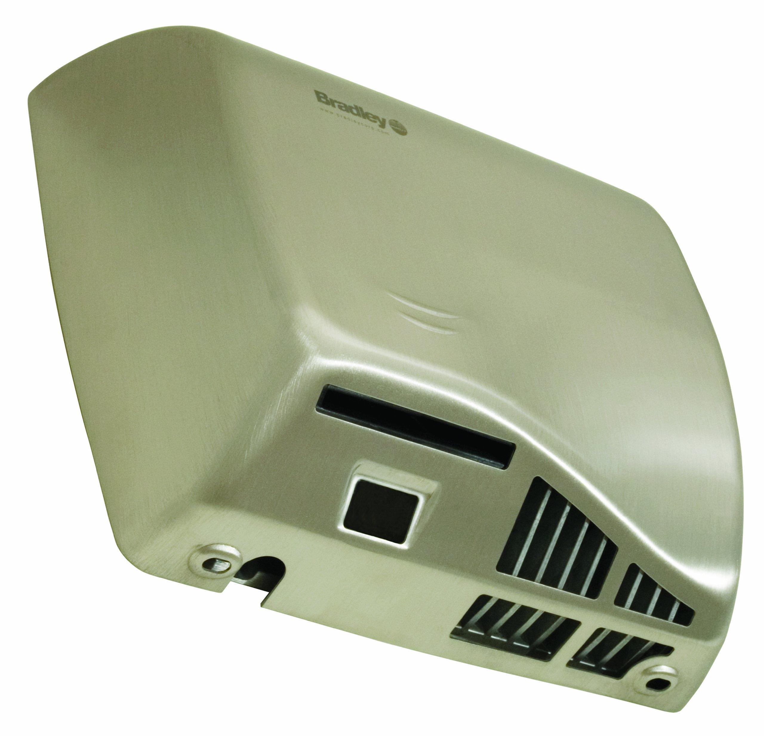 Bradley 2902-287400 Stainless Steel Adjustable Sensor Operated Warm Air Hand Dryer, 11-1/2'' Width x 10-1/2'' Height x 4'' Depth