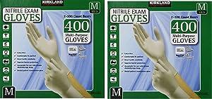 Kirkland Signature oZnoub Latex-Free Nitrile Exam Multi-Purpose Gloves, Medium, 400 Count (2 Pack)