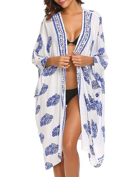 Amazon.com: Finejo – Mujer Gasa de Boho Kimono chaqueta de ...
