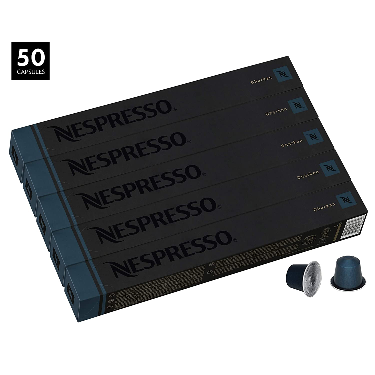 Nespresso Dharkan Intenso OriginalLine Capsules, 50 Count Espresso Pods, Intensity 11 Blend, Long Roasted with Latin American & Asian Coffee Flavors