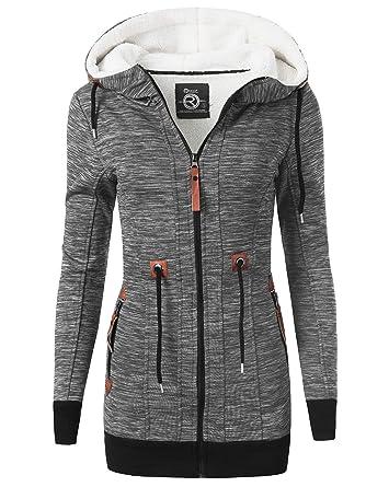 low priced 51ce2 55286 REXOO N920 Damen Jacke Mantel Winterjacke Kapuze Gefüttert Sweatjacke  Zipper Hoodie