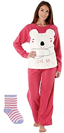 c6e4171533 Womens Ladies Fleece Pyjama Set Lounge Wear Warm Soft long Sleeve Top Night  Winter PJs with