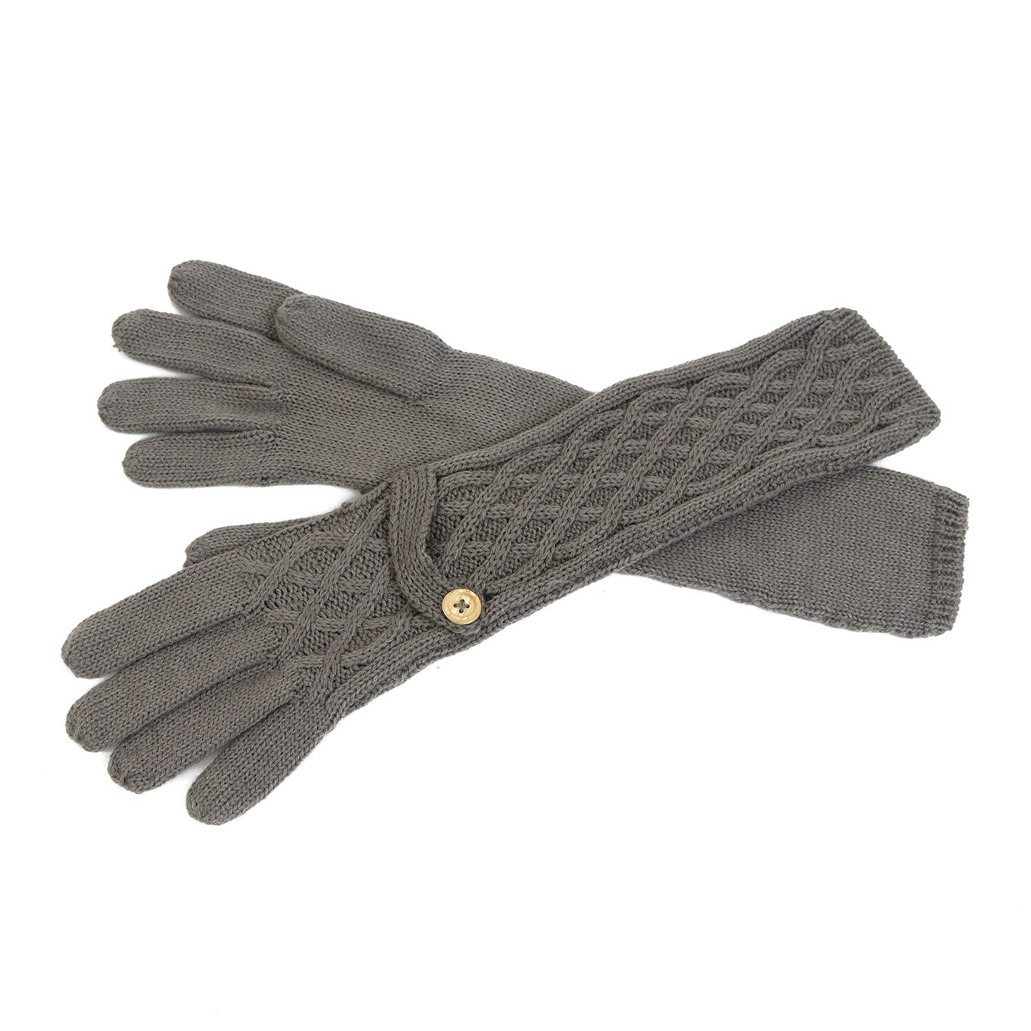 Cozy Design Women's Woolen and Cony Hair Knitted Long Gloves Grey