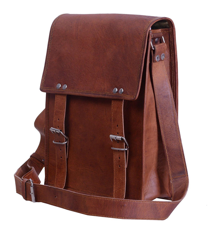 TUZECH Men's Vintage Buckle Leather bag Cross Body Sling Shoulder Messenger Bag, 3 Compartments Fits Laptop Upto 13.3 Inches
