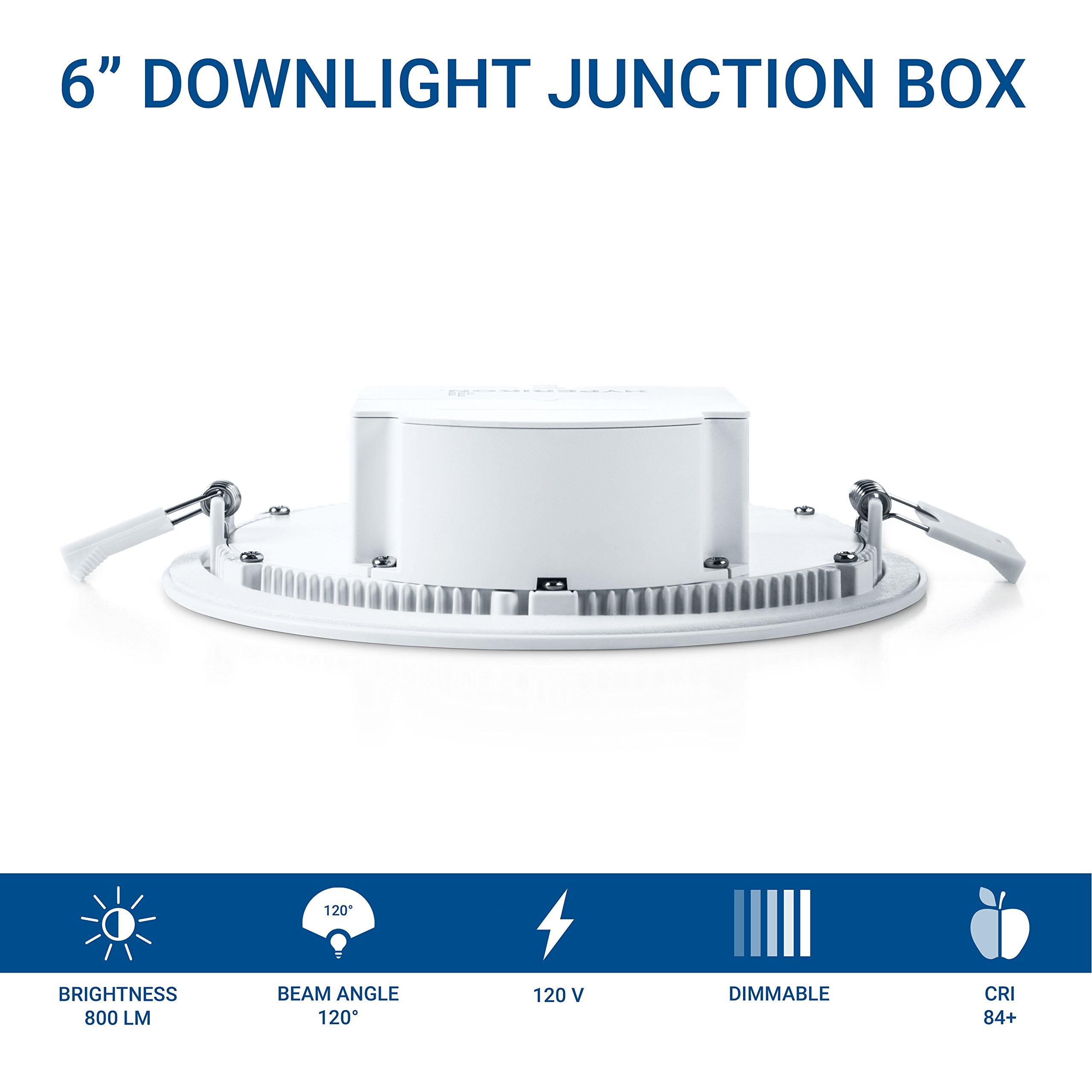 Hyperikon 6'' Recessed LED Downlight with Junction Box, Dimmable, 11.6W (65W Equivalent), Slim Retrofit Airtight Downlight, 4000K (Daylight Glow), Energy Star, UL - for Dry/Damp Locations (6 Pack) by Hyperikon (Image #3)