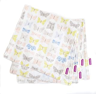 product image for Kiddiebites | 100% Organic Cotton Flannel Cloth Napkin Set | 5-Pack for Kids and Toddlers | 2-ply | Made in The USA | Reusable (Butterflies, Flannel)