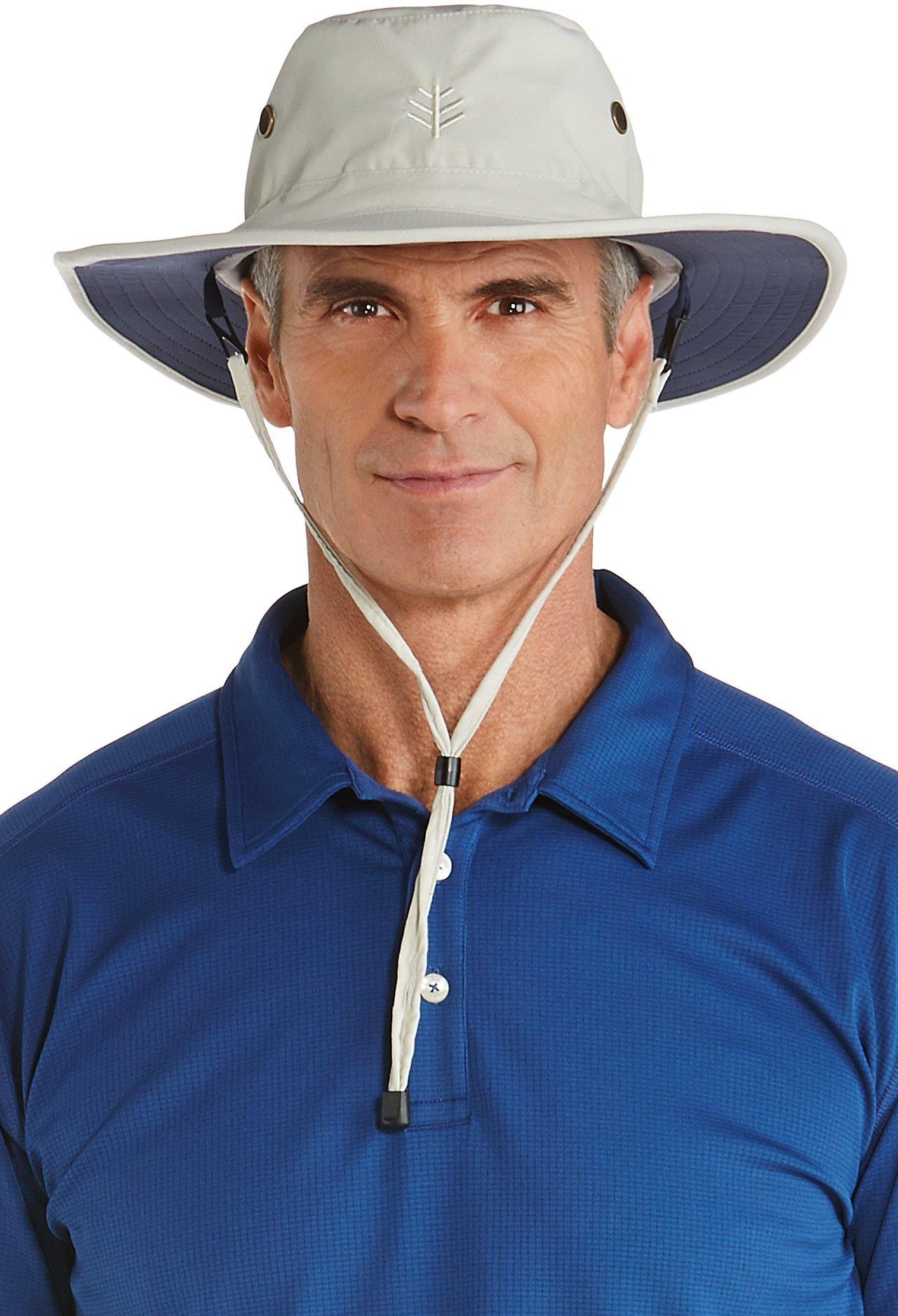 Coolibar UPF 50+ Men's Shapeable Wide Brim Hat - Sun Protective (Large/X-Large- Stone/Navy)