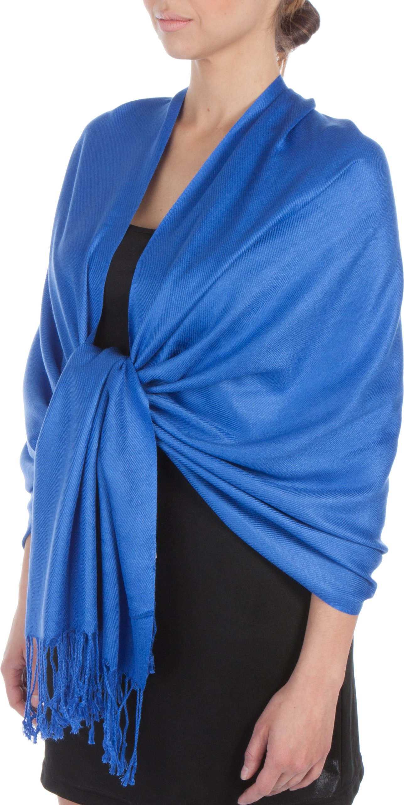 Sakkas Large Soft Silky Pashmina Shawl Wrap Scarf Stole in Solid Colors- Royal Blue