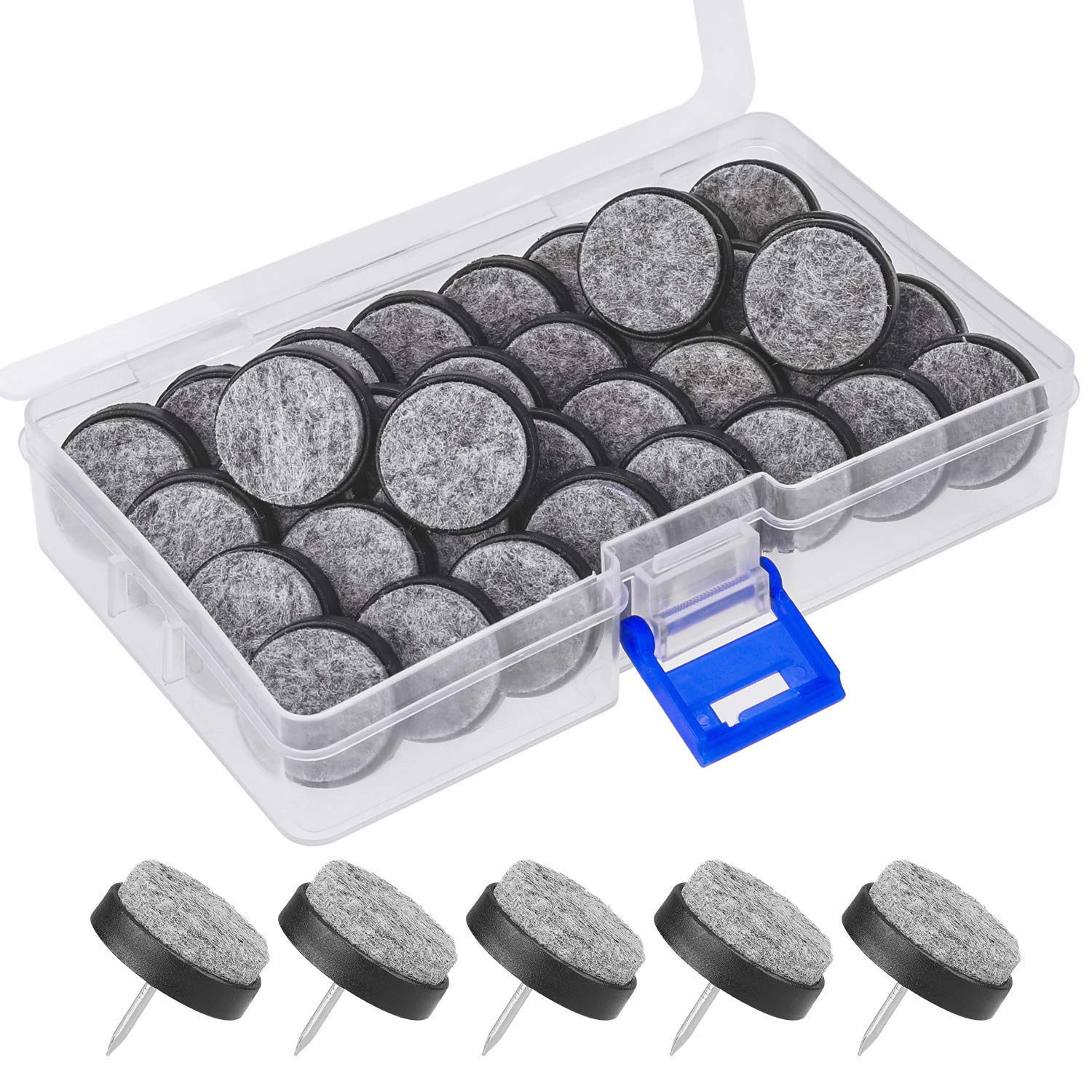 Stools and Table Leg 24 mm Black Furniture Feet Protection Pads for Wooden Chair Mwoot 36 Pieces Furniture Nails