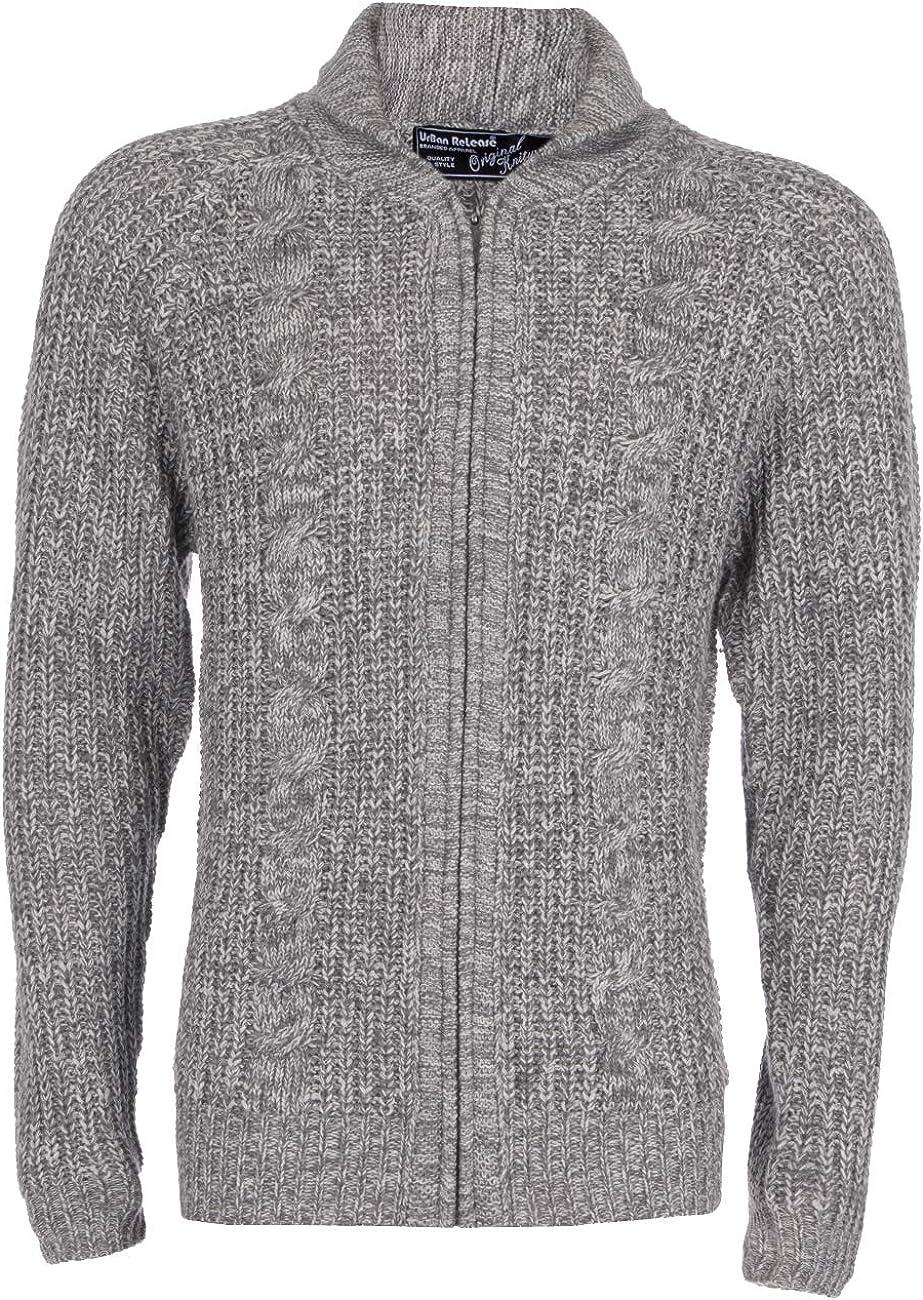 Metzuyan Mens Chunky Cable Knit Cardigan Zipped Warm Winter