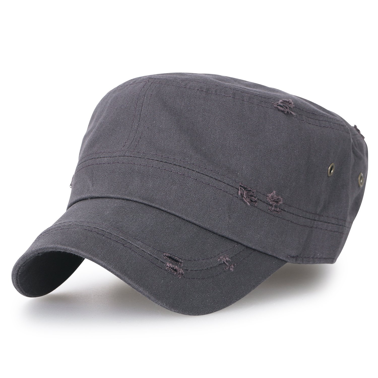 a4f6e967b23 ililily Large Size Solid Color Military Army Hat Washed Cotton Vintage  Cadet Cap  Amazon.co.uk  Clothing