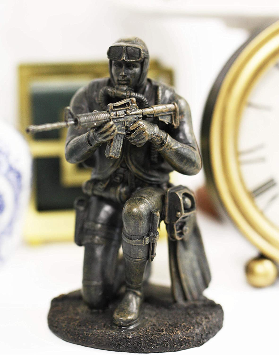 """Ebros Gift Battlefield Kneeling Navy Seal Diver Soldier Taking Aim with Rifle Statue 6"""" H Honor and Valor Military War Combat Mission Unit Infantry at Arms with Scuba Mask and Fins Figurine"""
