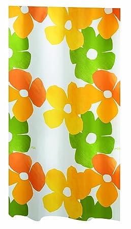 Spirella Joy Rideau De Douche Polyester Vert Orange Blanc Vert Orange Jaune 240 X 200 Cm