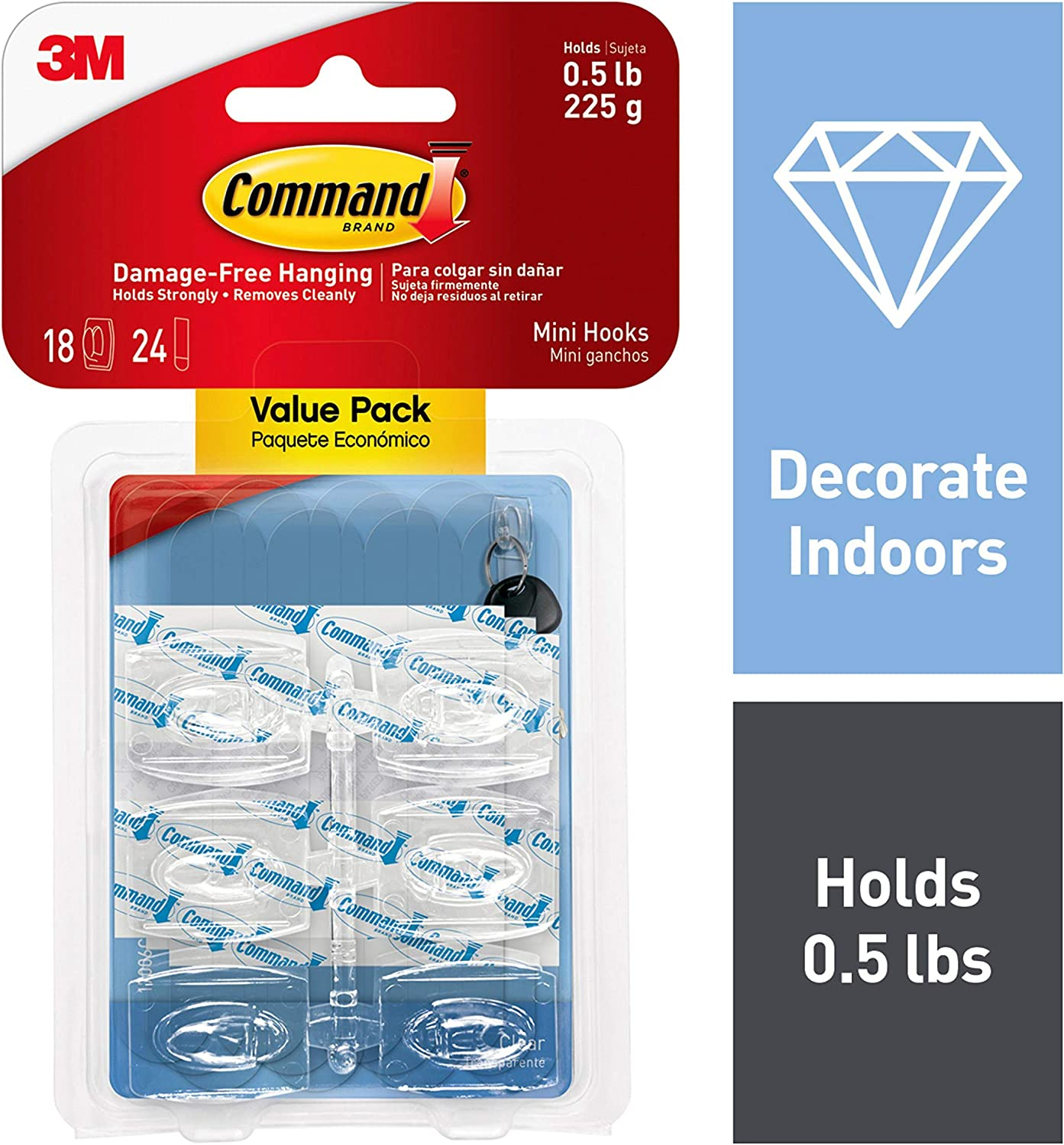 Command Mini Hooks, 18 hooks, 24 strips, Decorate Damage-Free (17006CLR-18ES)