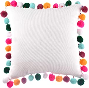 leegleri White Decorative Pom-Poms Throw Pillow Cover, Soft Velvet Colored Rainbow Pom Cushion Cover Pillow Case for Couch Sofa Bed (16x16 Pillow Cover)