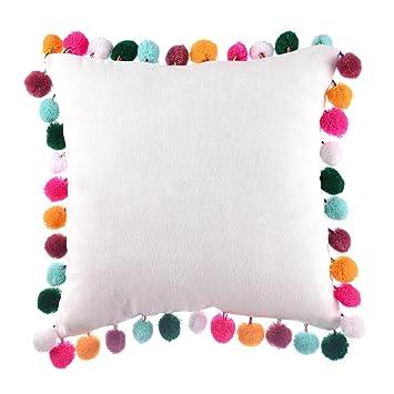 Amazon.com: Leegleri - Funda de almohada con pompón y flecos ...