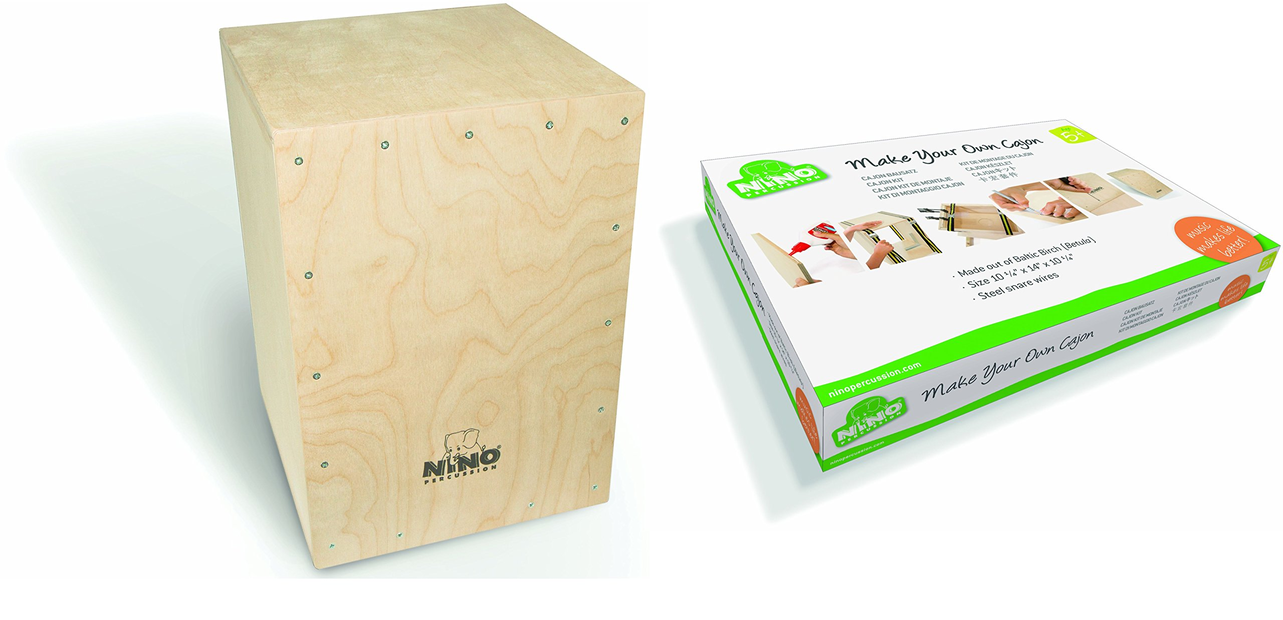 Nino Percussion Kids' Make Your Own Cajon Kit -MADE IN EUROPE - Baltic Birch Wood, Includes Easy to Follow Manual, 2-YEAR WARRANTY (Parts Only) Only), inch (NINO951-MYO)