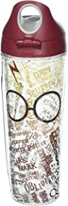 Tervis 1230397 Harry Potter - Glasses and Scar Insulated Tumbler with Wrap and Maroon Lid, 24 oz Water Bottle - Tritan, Clear