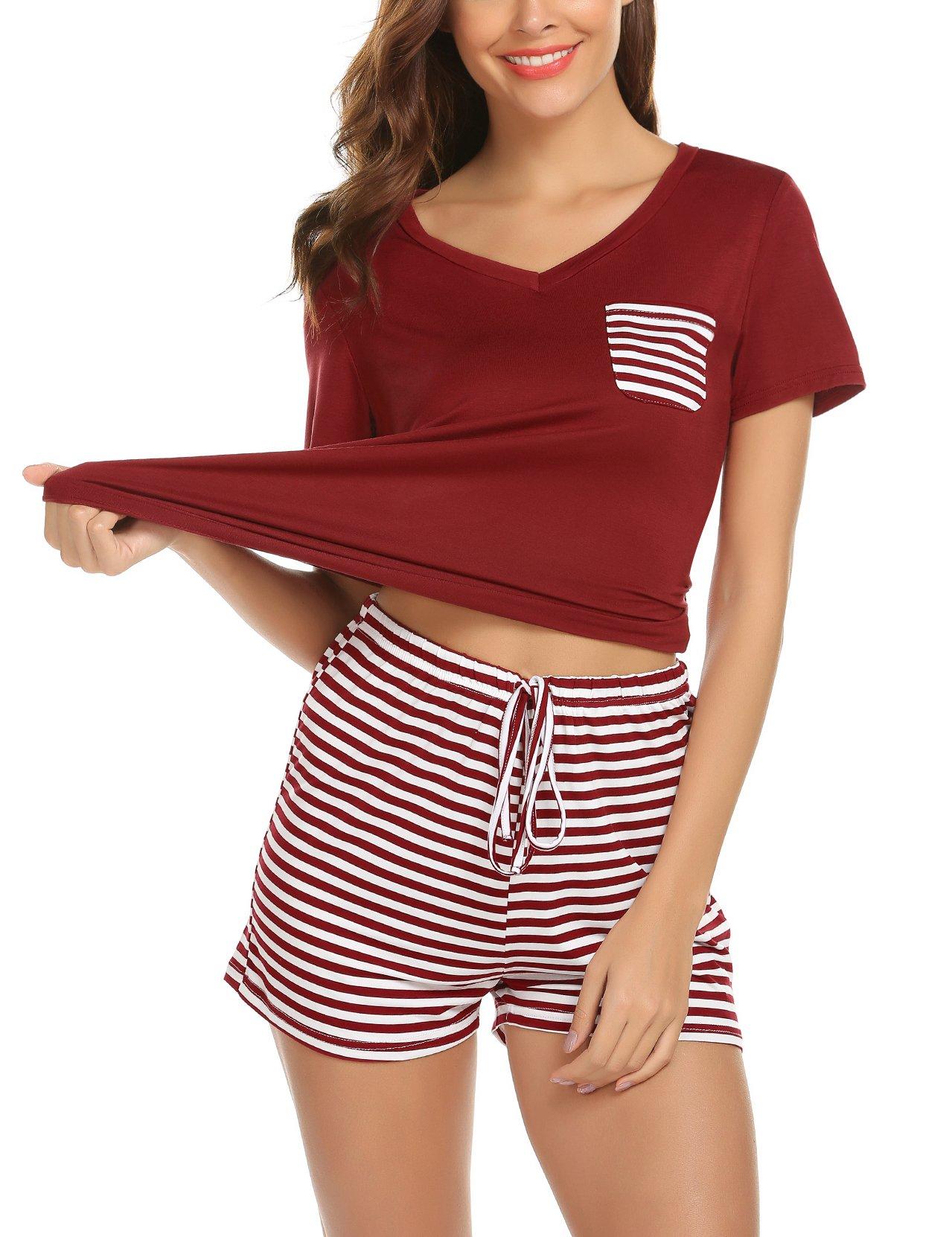 hellow friends Ladies Lightweight Summer Pajamas Soft Short Sleeve Patchwork T-Shirt with Shorts Nightwear for Women S-2XL