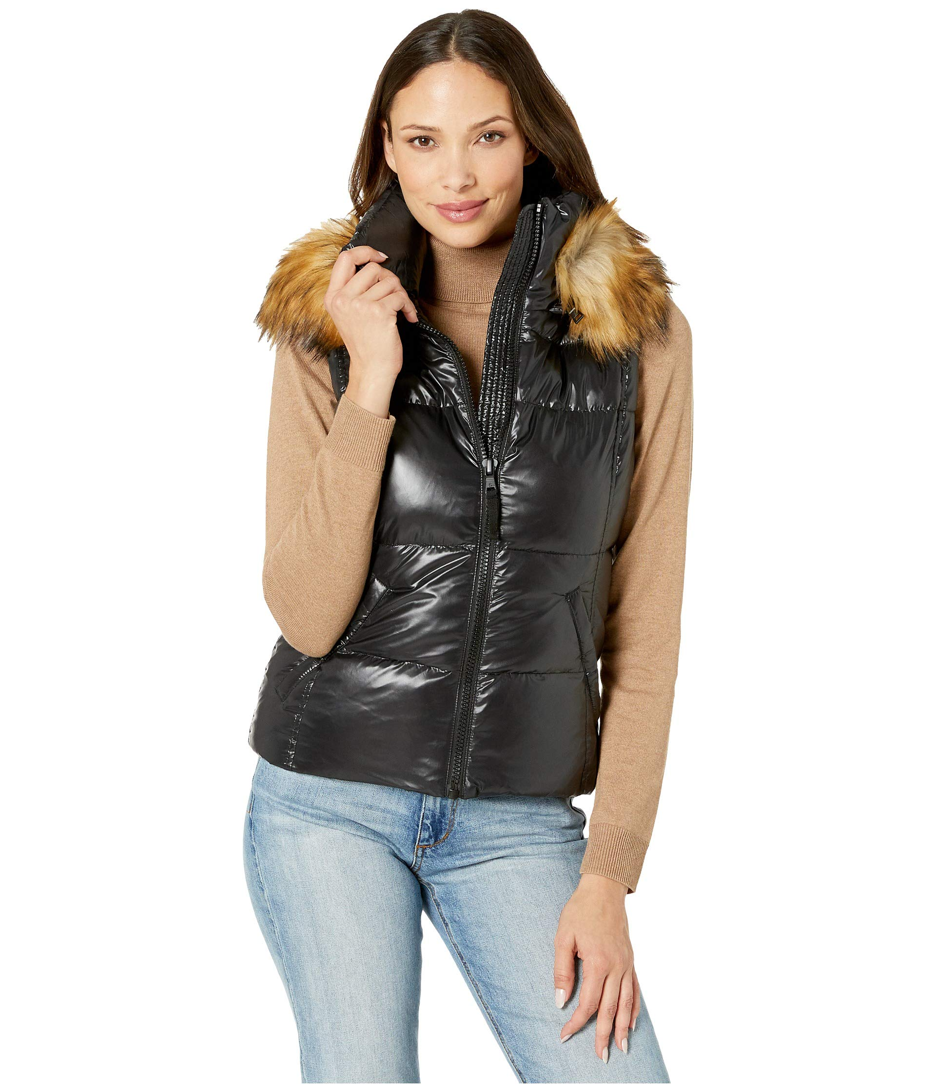S13 Women's Snowcat Down Puffer Vest with Faux Fur Hood, Jet, X-Small by S13