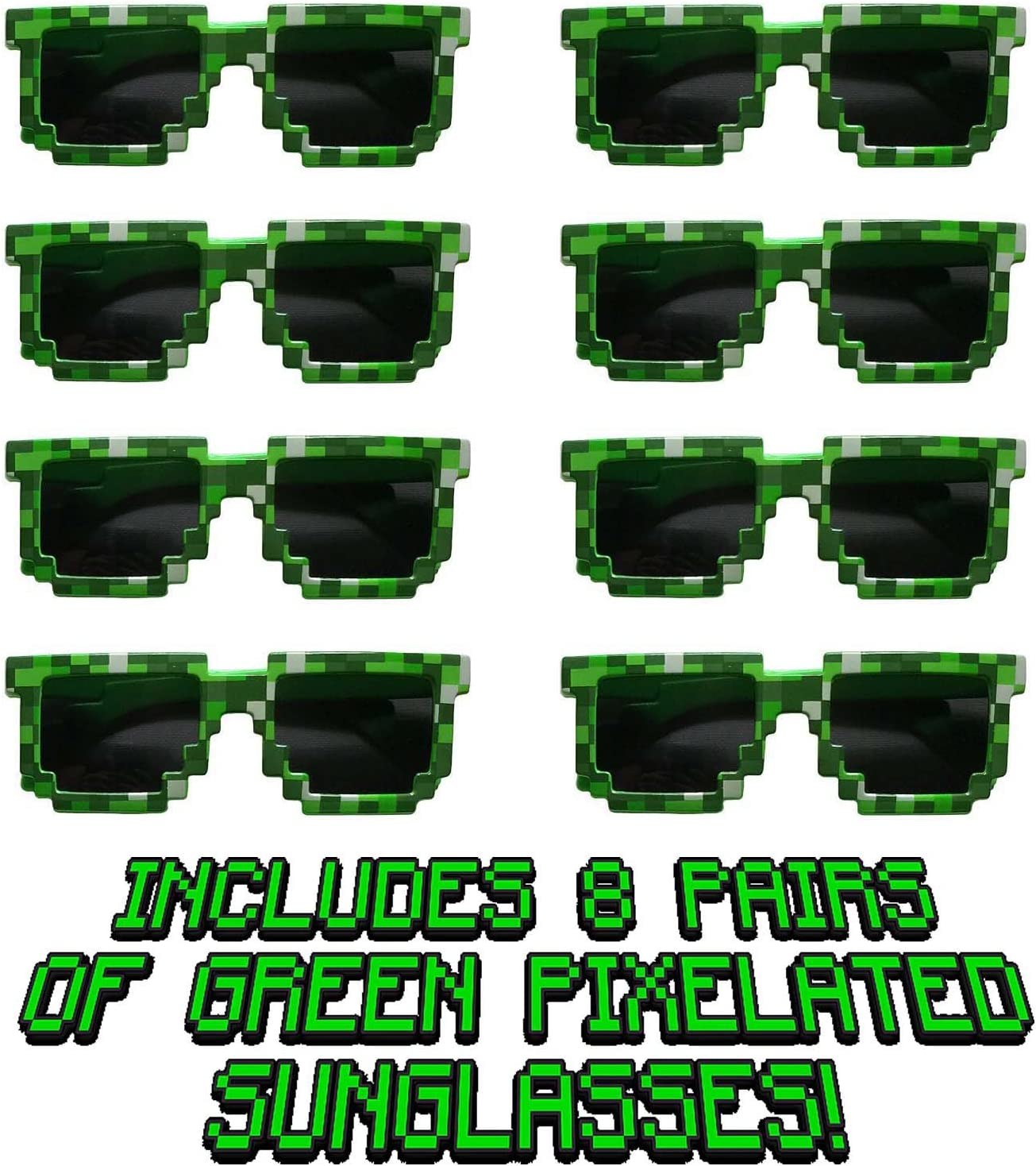 8 Pack Party Bag Fillers for Miner Themed Parties Jade/'s Enterprises 8-Bit Pixelated Sunglasses Birthday Party Favors