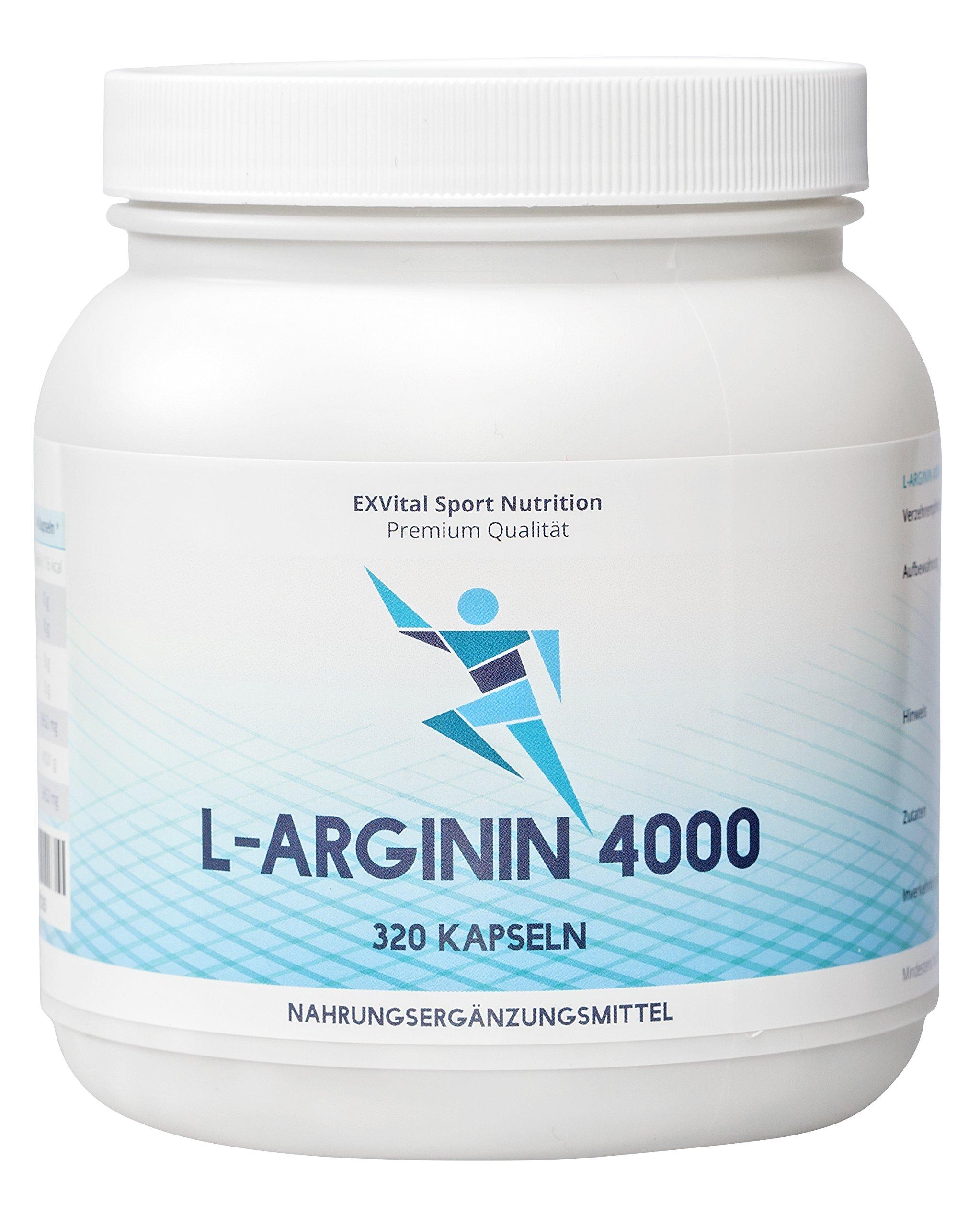 EXVital L-Arginin 4000 hochdosiert, 320 Kapseln in deutscher Premiumqualität, 2-3 Monatskur, semi-essentielle Aminosäuren 1er Pack (1x 403g) product image