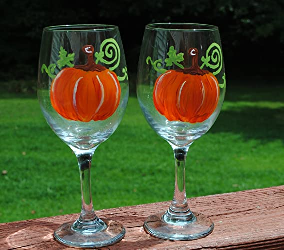Festive Fall Orange Pumpkin Hand-Painted Stemmed Wine Glasses (Set of Two)