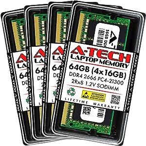 A-Tech 64GB (4x16GB) DDR4 2666MHz SODIMM PC4-21300 2Rx8 Dual Rank 260-Pin CL19 1.2V Non-ECC Unbuffered Notebook Laptop RAM Memory Upgrade Kit