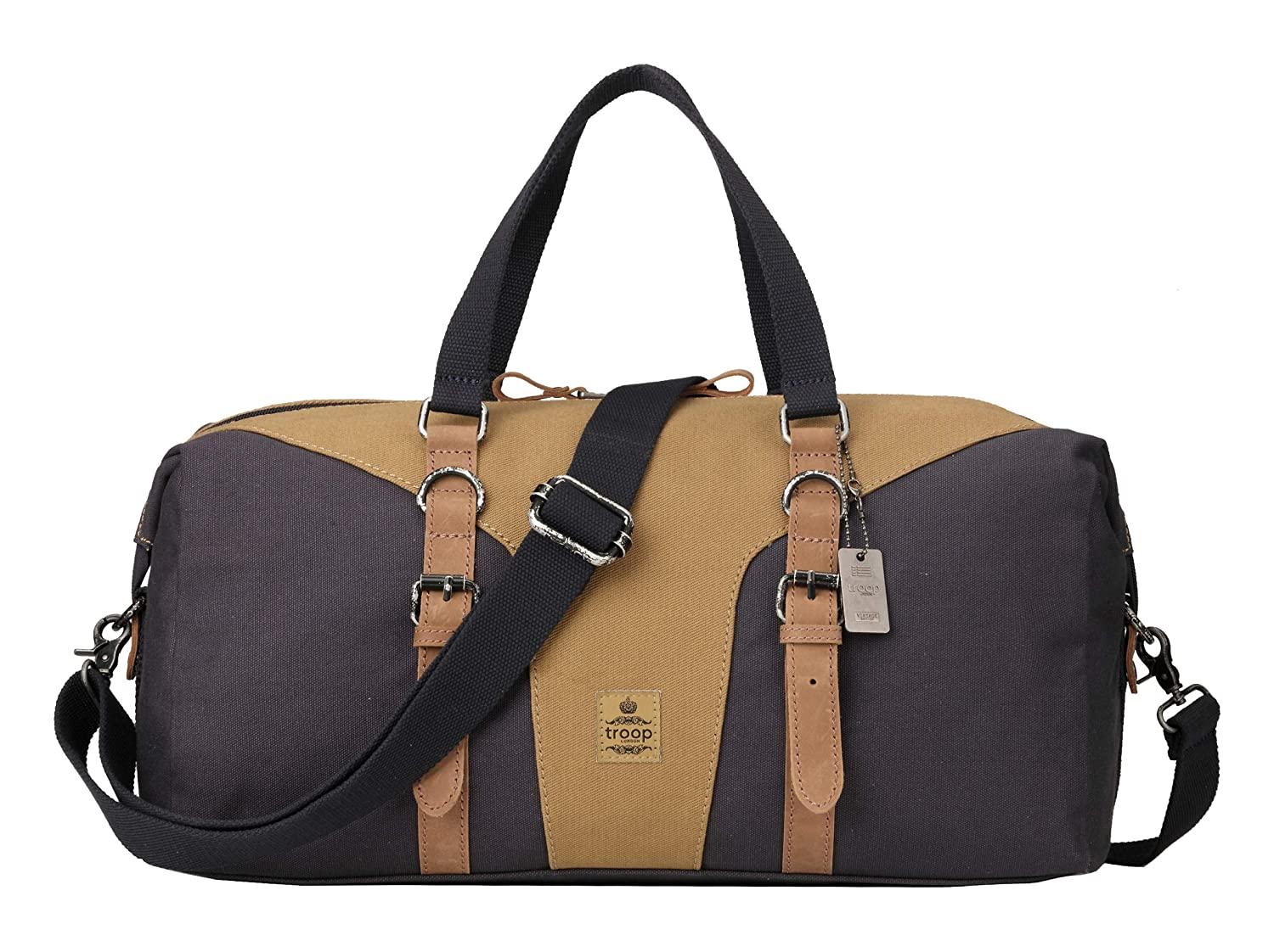 Navy Camel Canvas Holdall Gym Bag TRP0432 Troop London Heritage Canvas Leather Travel Duffel Bag