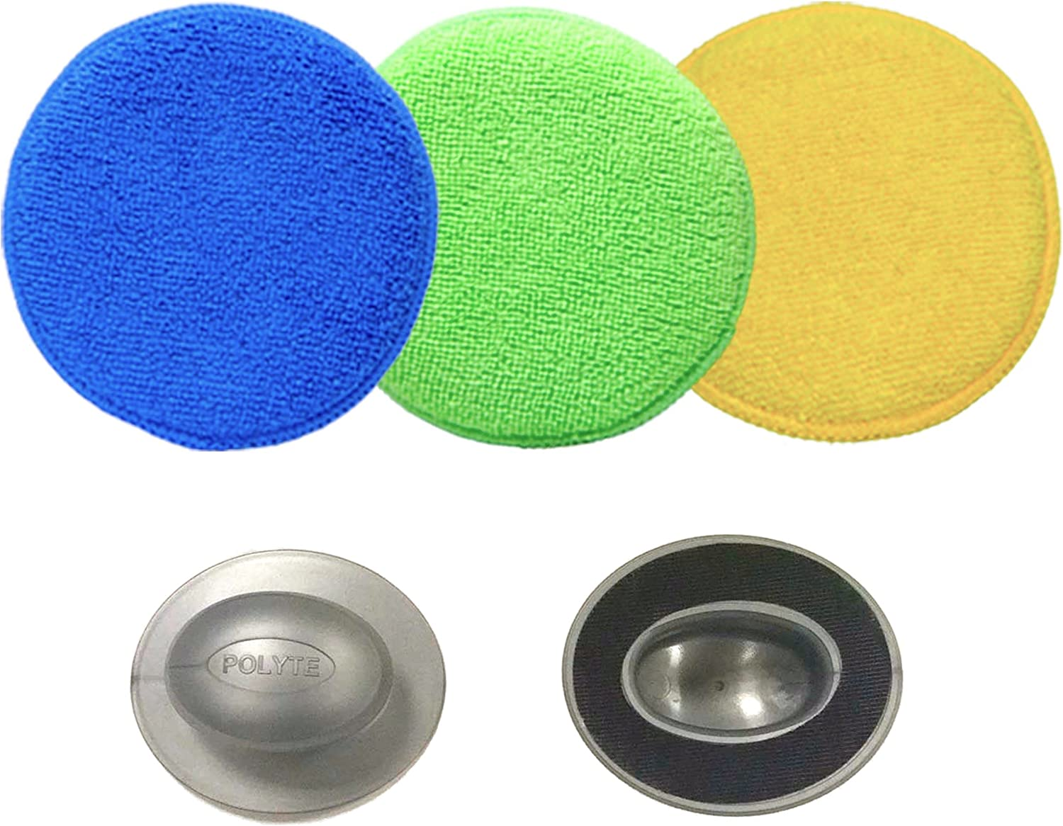 8 Pack Polyte Microfiber Detailing Wax Applicator Pad Blue, 5 in