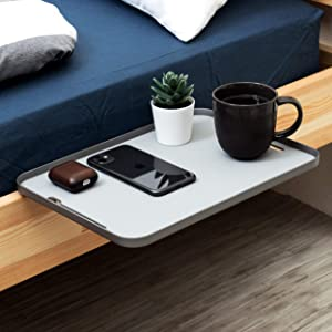 MONITORMATE ProSHELF Aluminum Minimalist Bedside Shelf with Versatile 2-Way Clamp System/3 Colors(Gray) Made in Taiwan