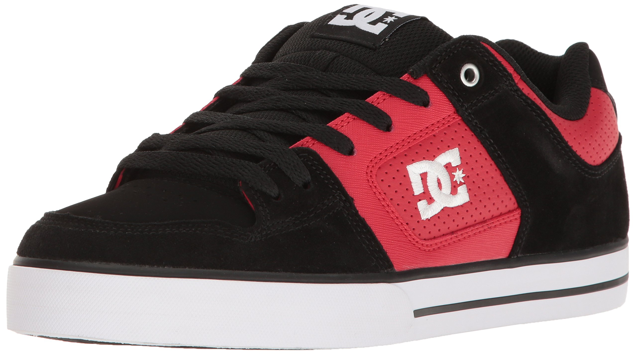 DC Men's Pure Action Skate Shoe Skateboarding, Red/Black 6 D US