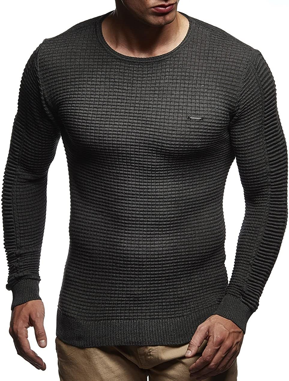 Leif Nelson suéter de Jersey de Punto Fino de Cuello Redondo de los Hombres de LN-1545