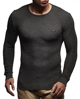 LEIF NELSON Herren Pullover Strickpullover Hoodie Basic Rundhals Crew Neck  Sweatshirt Longsleeve Langarm Sweater Feinstrick LN1545  Amazon.de   Bekleidung a43da85c7b